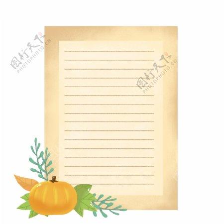 手绘卡通感恩节感谢信信纸复古