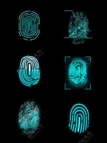 科技感图标指纹解锁图案gif
