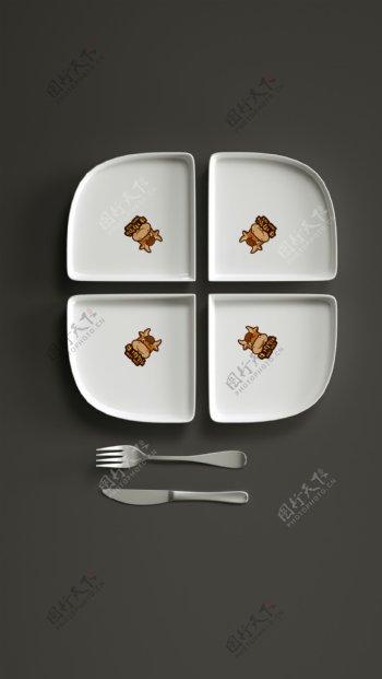 餐饮刀叉盘子原创logo样机