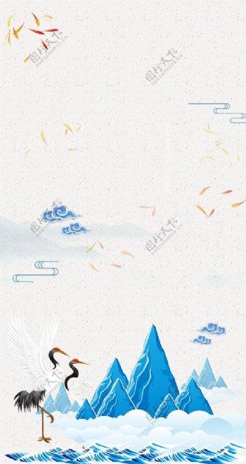 手绘复古中国风h5背景