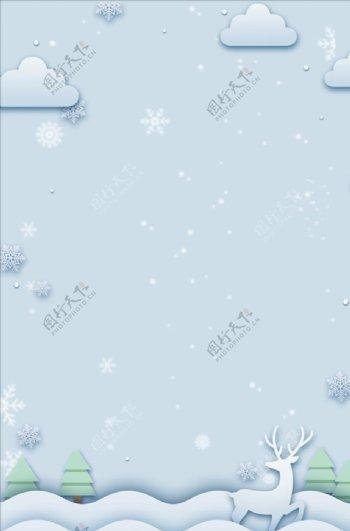 纯白色背景圣诞冬天剪纸风纯白雪