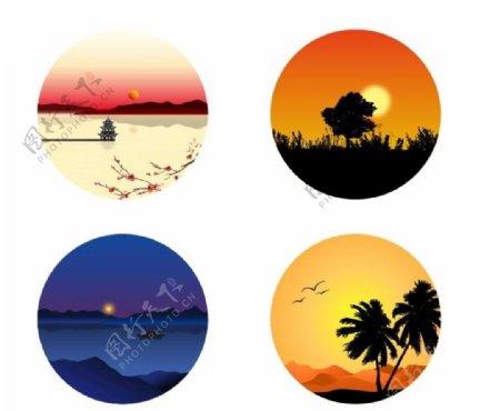 日出霞光橙色剪影红日