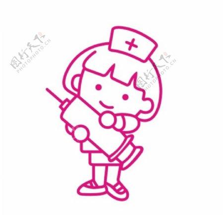手绘线描卡通护士CDR矢量图