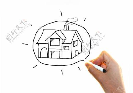 房地产和住宿人虚拟的图画房子