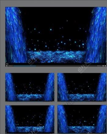 蓝色粒子瀑布动画