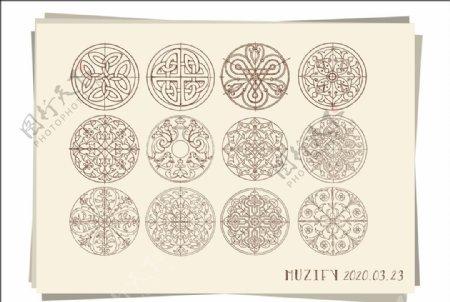 12款入圆形对称图案