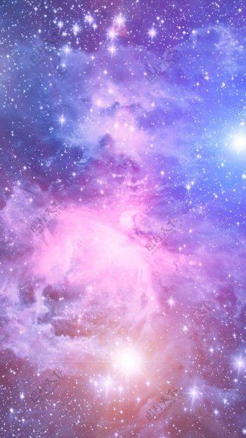 紫色梦幻星空H5背景素材