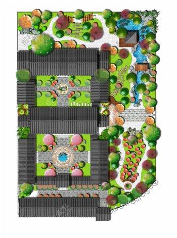 仿清建筑四合院平面设计图