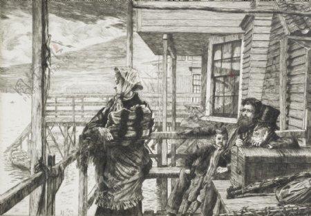 詹姆斯提索素描速写作品