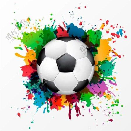 足球彩色彩绘足球球