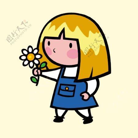 拿花的女孩