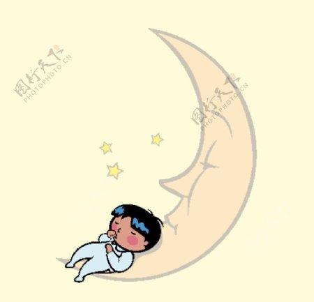 月亮上睡觉的婴儿