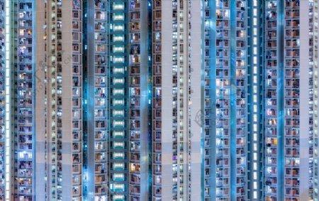 香港城市建筑垂直的亚洲公寓窗口