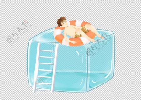 冰块游泳夏季插画卡通海报素材