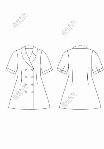 女童双排扣西装领连衣裙款式图