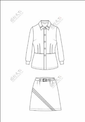 服装平面设计图女款春秋季长袖图片