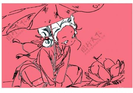 女孩卡通漫画荷叶荷花图案