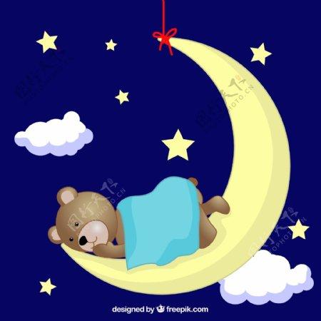 泰迪熊月球上睡觉