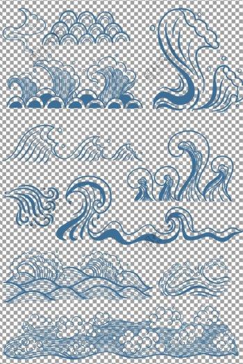 手绘水浪水波纹
