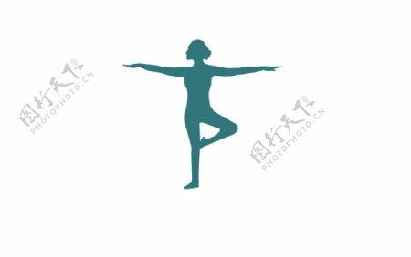 瑜伽人物动作矢量剪影