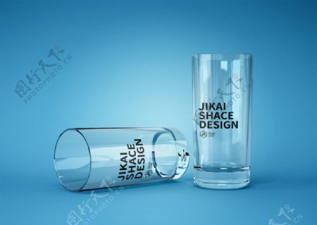 透明玻璃杯啤酒杯LOGO样机