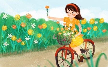 采花的小女孩漫画海报