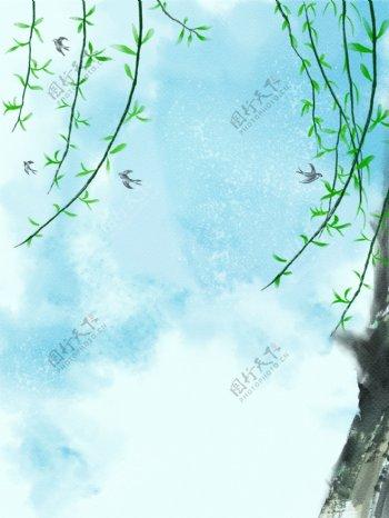 柳树卡通背景