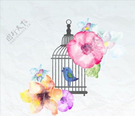 笼子里手绘鸟