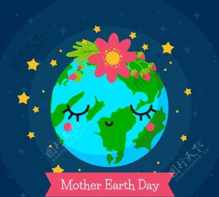 地球日戴花的地球图片