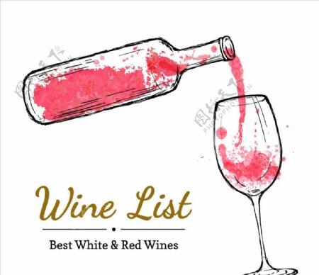 手绘酒瓶和葡萄酒杯图片