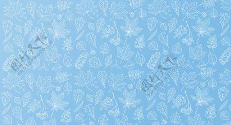 蓝色渐变小清新叶子背景图片