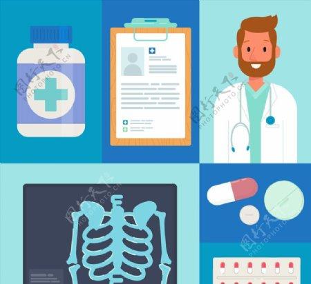 蓝色医疗元素图片