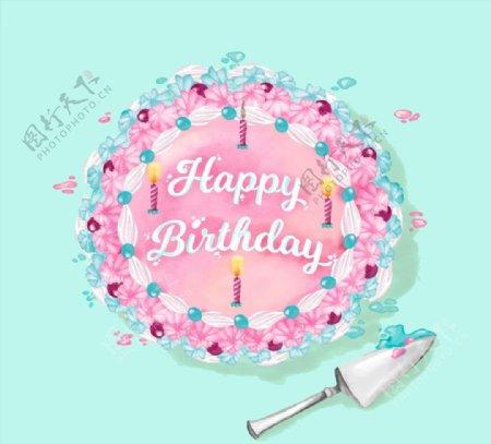彩色花朵生日蛋糕图片