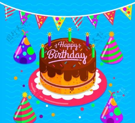 生日蛋糕和三角拉旗图片