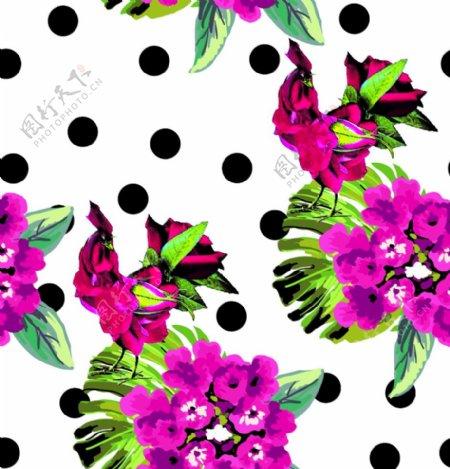圆点水彩花卉图片
