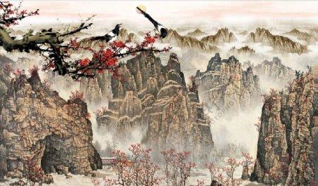 山水画梅花喜鹊背景墙图片