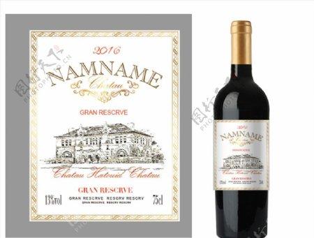 传统法国葡萄酒包装设计图片