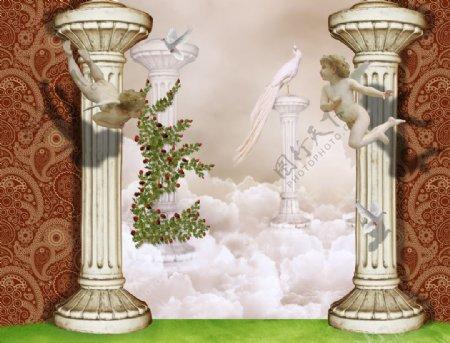 罗马柱爱神白鸽图片