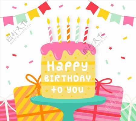 生日蛋糕和礼物图片