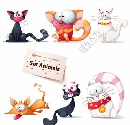 卡通搞笑猫咪图片