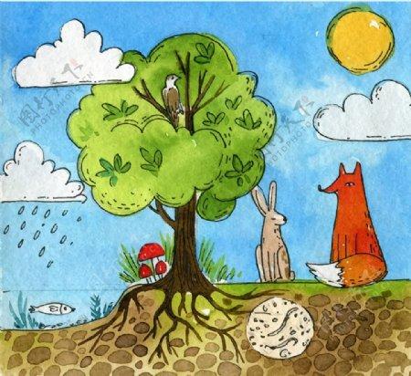 树木和森林动物插画图片
