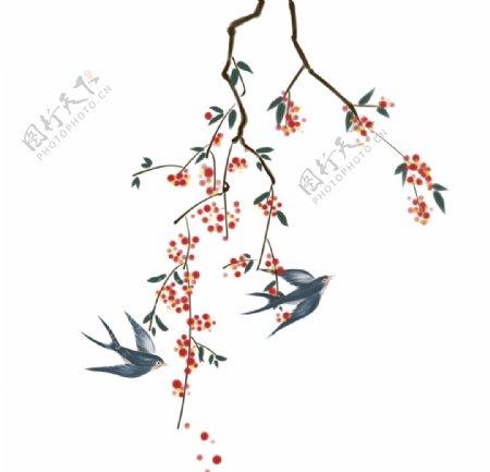 手绘水墨树枝燕子图片