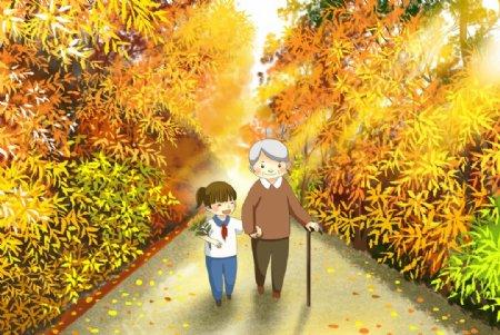 重阳传统节日插画背景海报素材图片