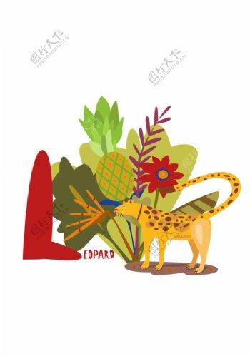 豹子与植物印花图案图片
