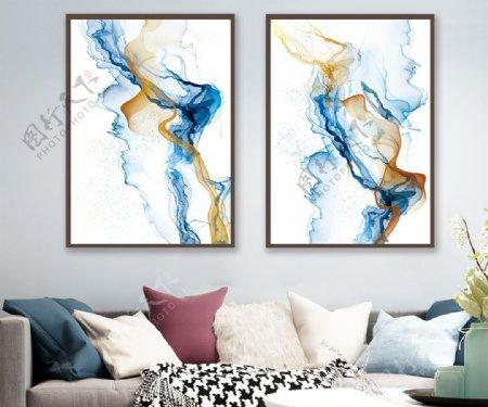 蓝色水墨抽象轻奢装饰画图片