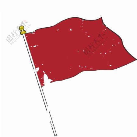 卡通手绘红旗图片