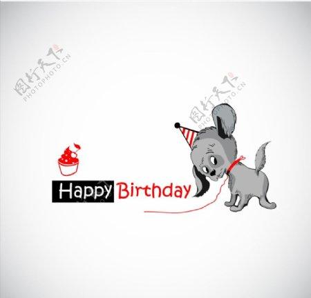 宠物狗生日贺卡图片