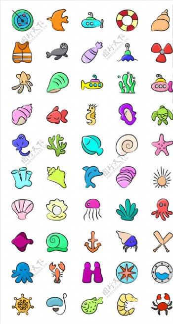 简约icon海洋生物图片