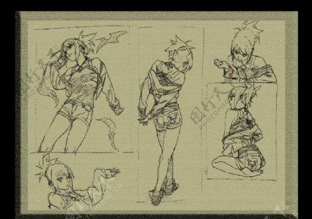 素描素材漫画人物卡通可爱甜图片