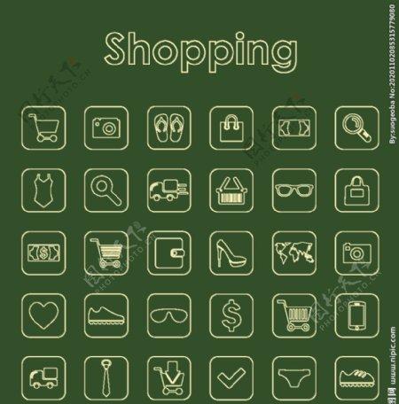 25个购物简单的图标图片